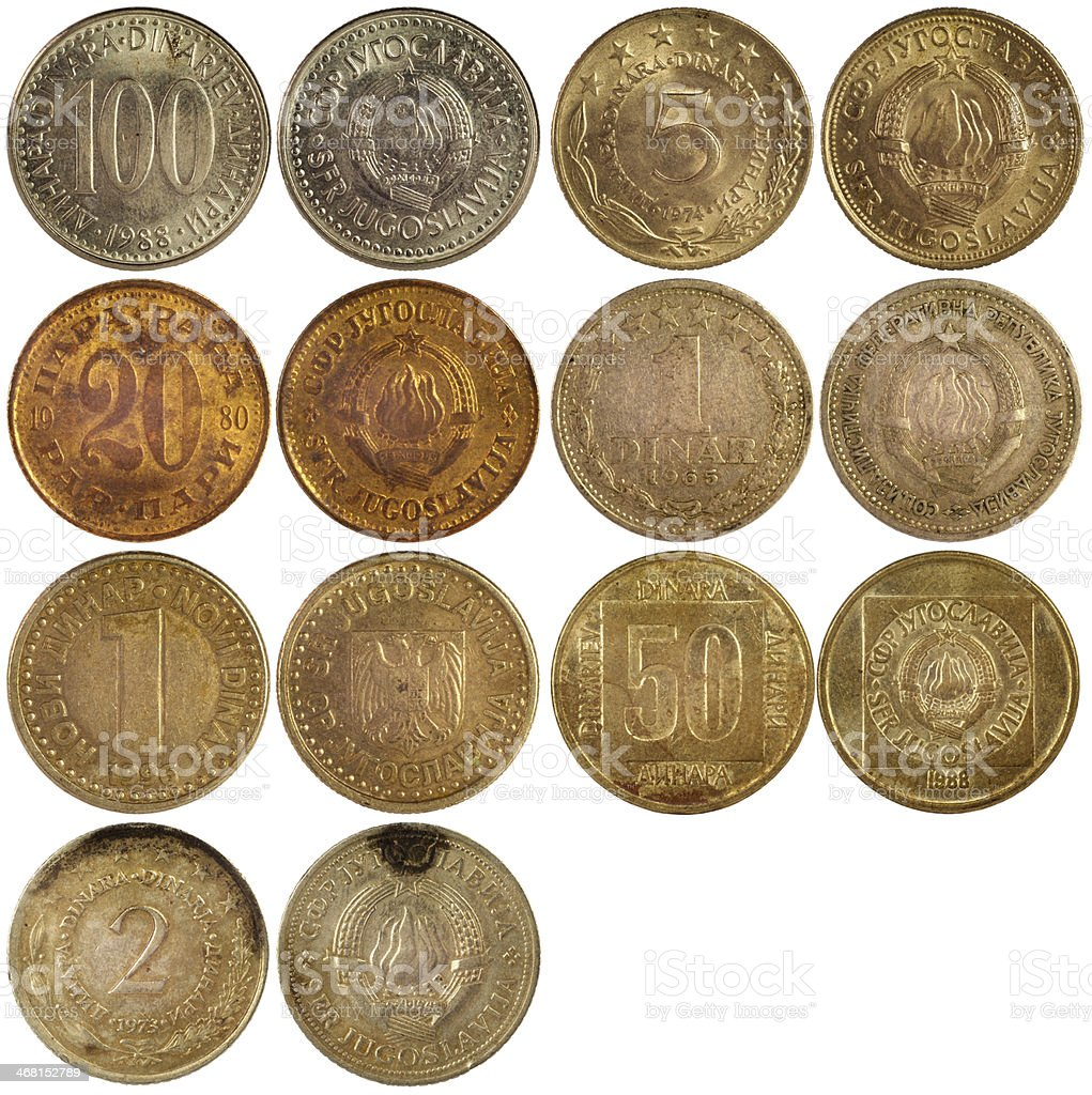old antique coins of yugoslavia stock photo