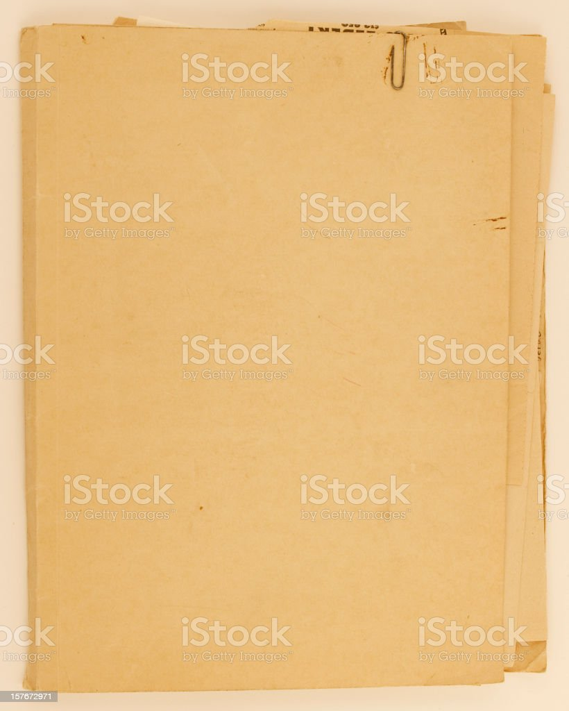 Old Antique File Folder with Rusted Paperclip stock photo