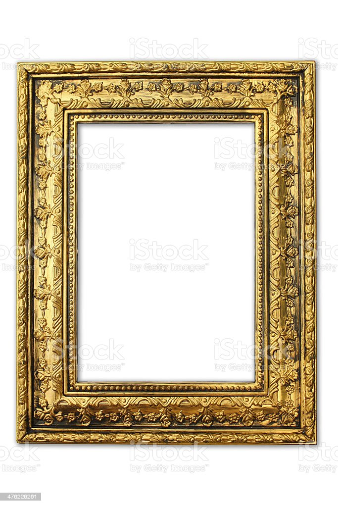 Old antique gold frame on the white background stock photo