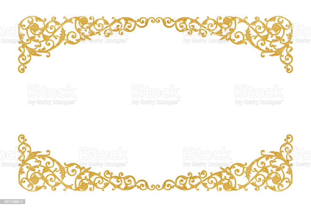 12a671cc3225 Old antique gold frame Stucco walls greek culture roman vintage style  pattern line design for border isolated - Stock image .
