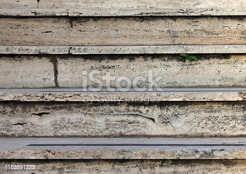 Old antique marble steps as abstract brown marble background