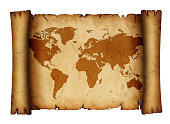 istock Old antique paper parchment scroll with map 1222626213