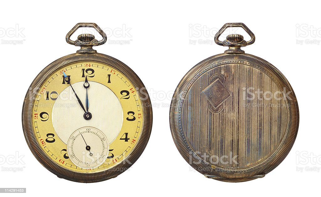 Old antique pocket watch isolated on white background. stock photo