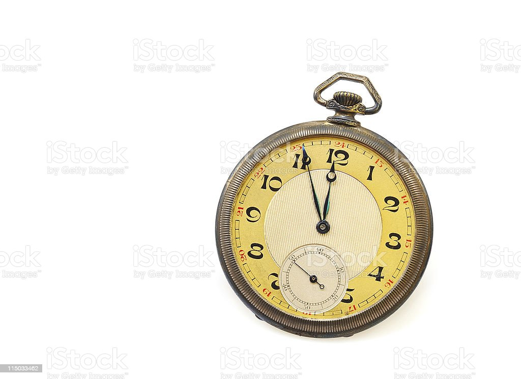 Old antique pocket watch isolated on white background stock photo