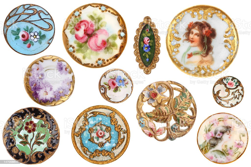 Old Antique Pretty Victorian Sewing Buttons Circa 1890 royalty-free stock photo