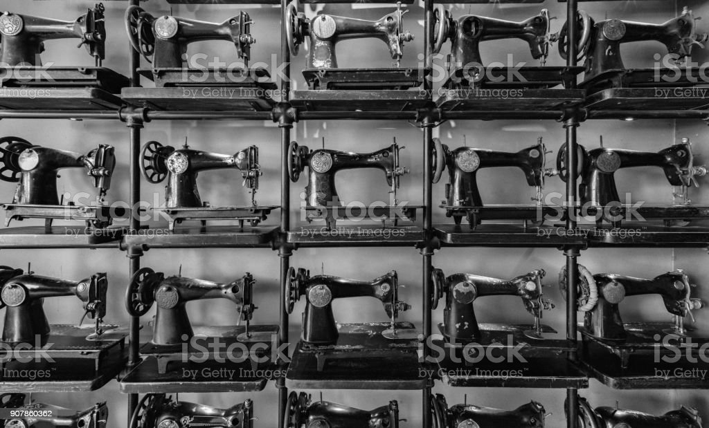 Old antique sewing machines stock photo