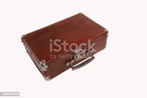 istock old antique suitcase with scuffed isolated on white background 496306805