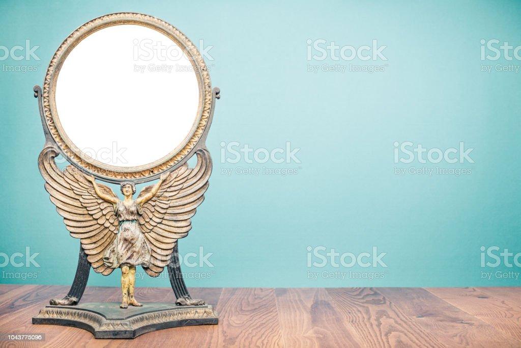 Ancien antique vintage en fonte bureau maquillage miroir cadre