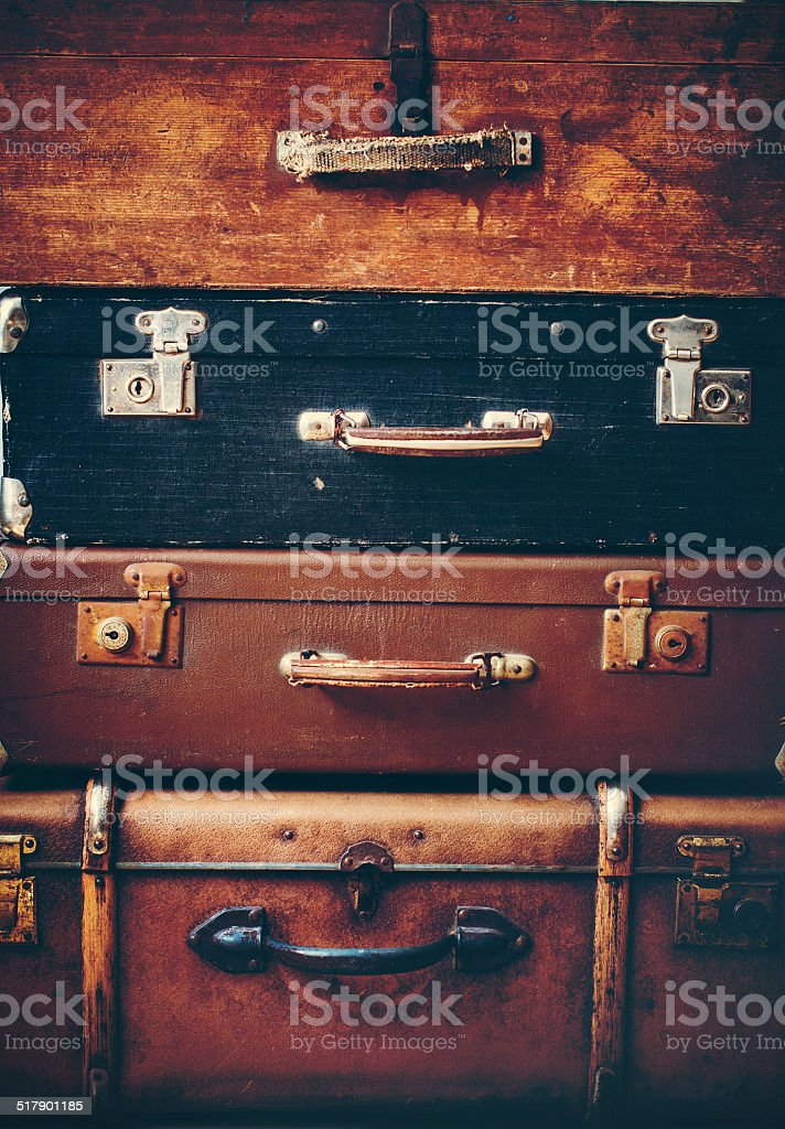 Old Antique Vintage Trunks in a Stack stock photo
