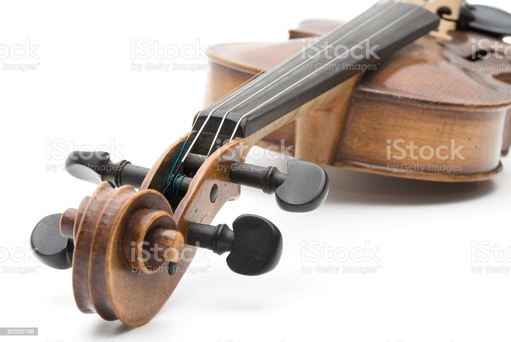 Old Antique Violin against White Background with Shadows stock photo