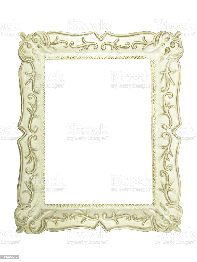 Old antique white wooden picture frame with empty place royalty-free stock photo