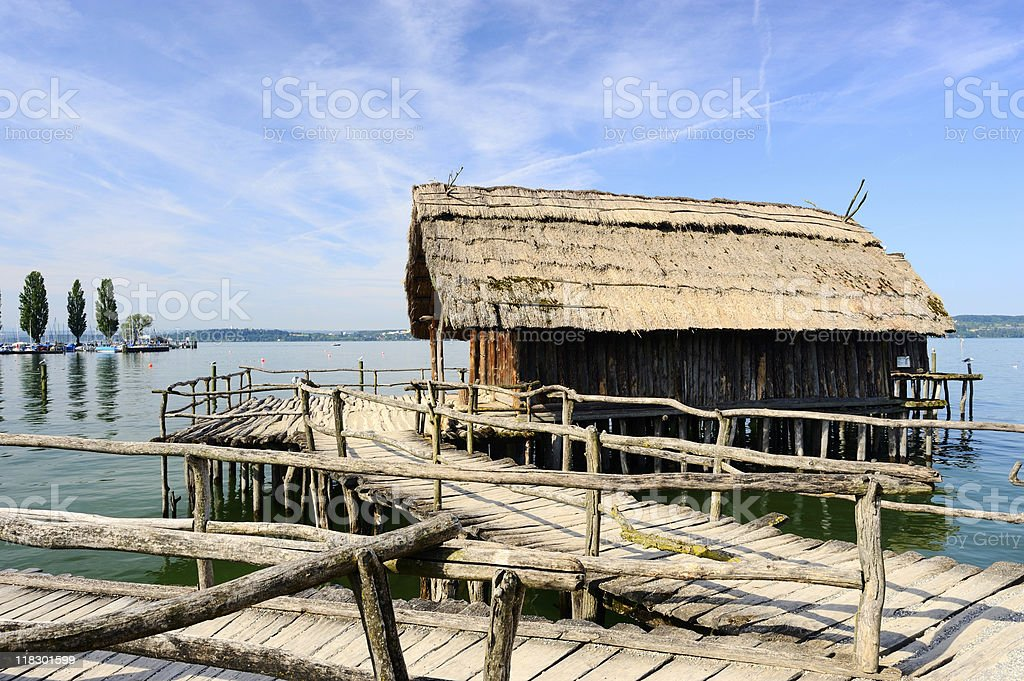 Old antique Wood House at Lake Constance Summer stock photo