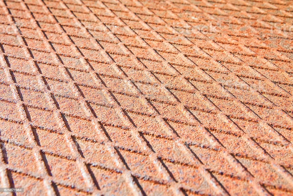 Old antislip corrugated and rusty metal plate stock photo
