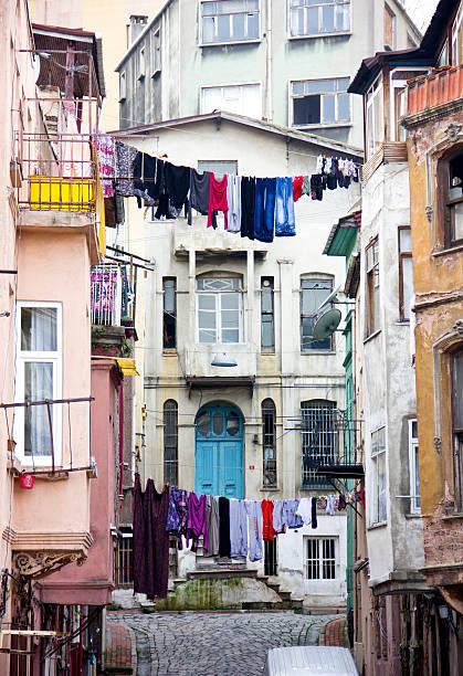 Old apartment blocks in istanbul stok fotoğrafı