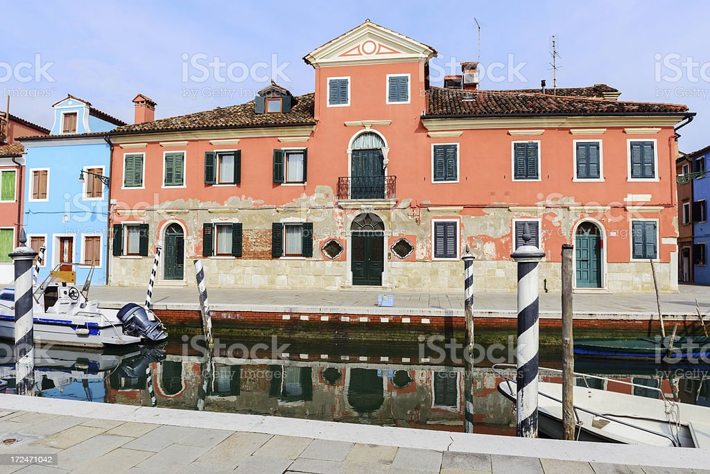 Old apartment building in Burano, Venice royalty-free stock photo