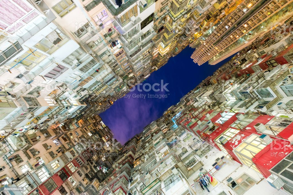 Old apartment building in Hong Kong stock photo