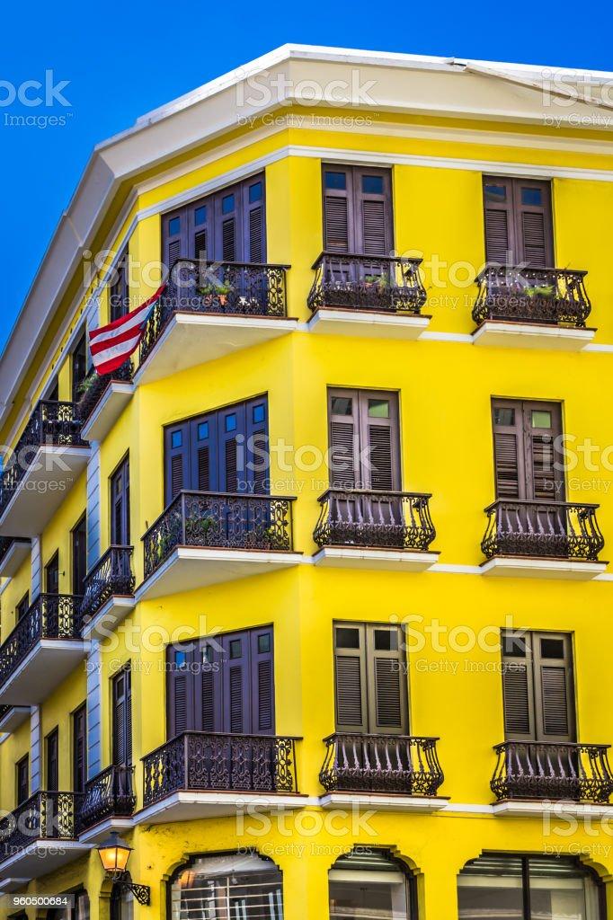 Old Apartment Building in San Juan stock photo