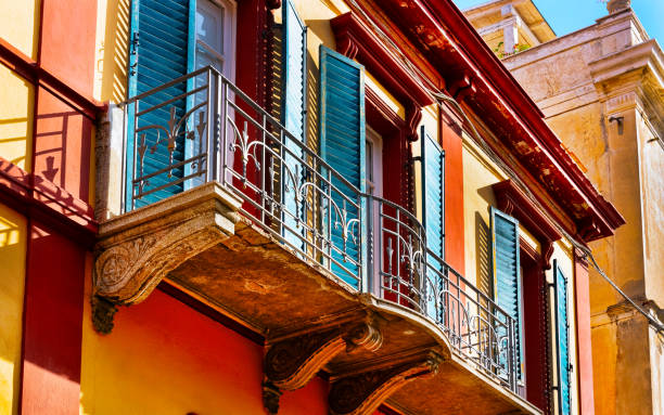 Old Apartment house residential home architecture in Olbia reflex stock photo