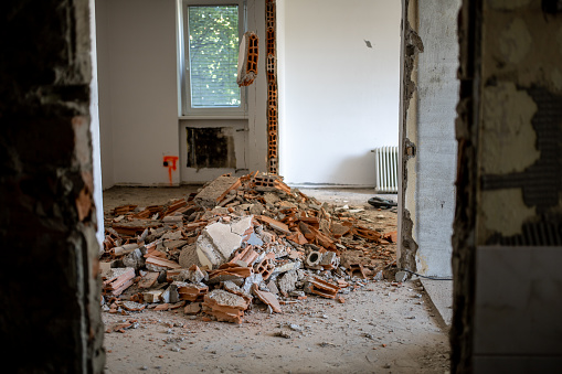 Old dirty dusty apartment renovation dismantling process background