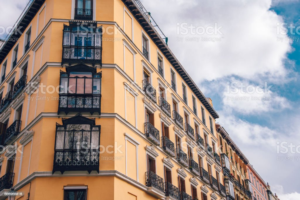 Old Apartments In Madrid Stock Photo - Download Image Now ...