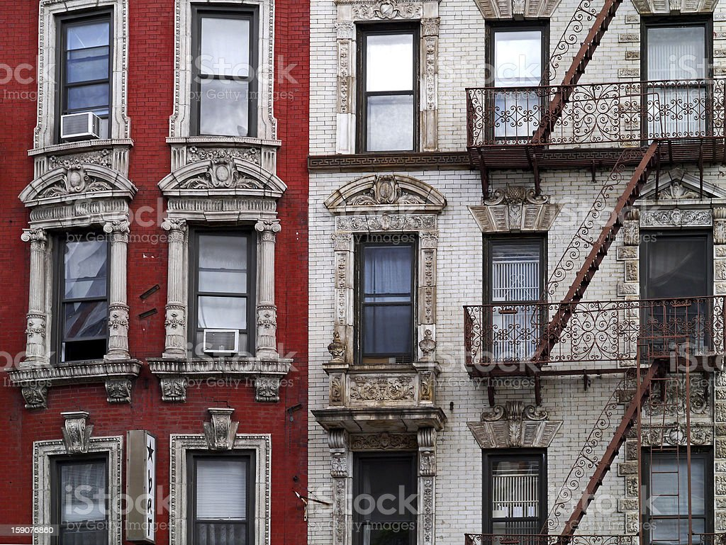 Old apartments in New York stock photo