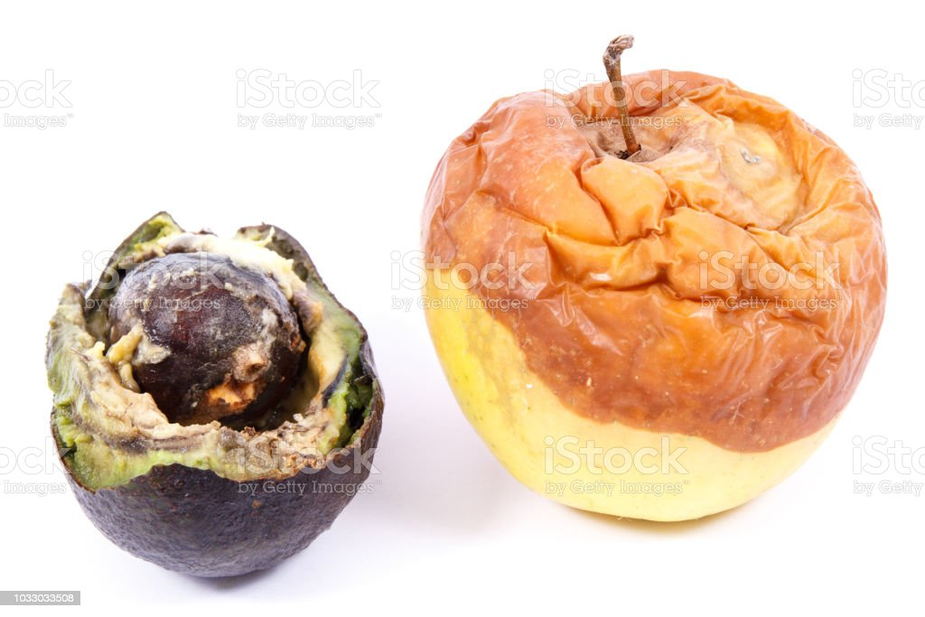 Old Apple And Avocado With Mold On White Background