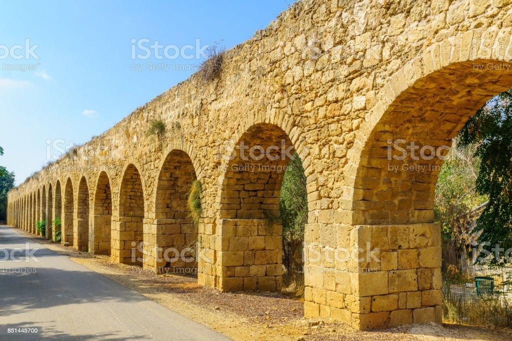 Old Aqueduct of Acre (Akko) stock photo
