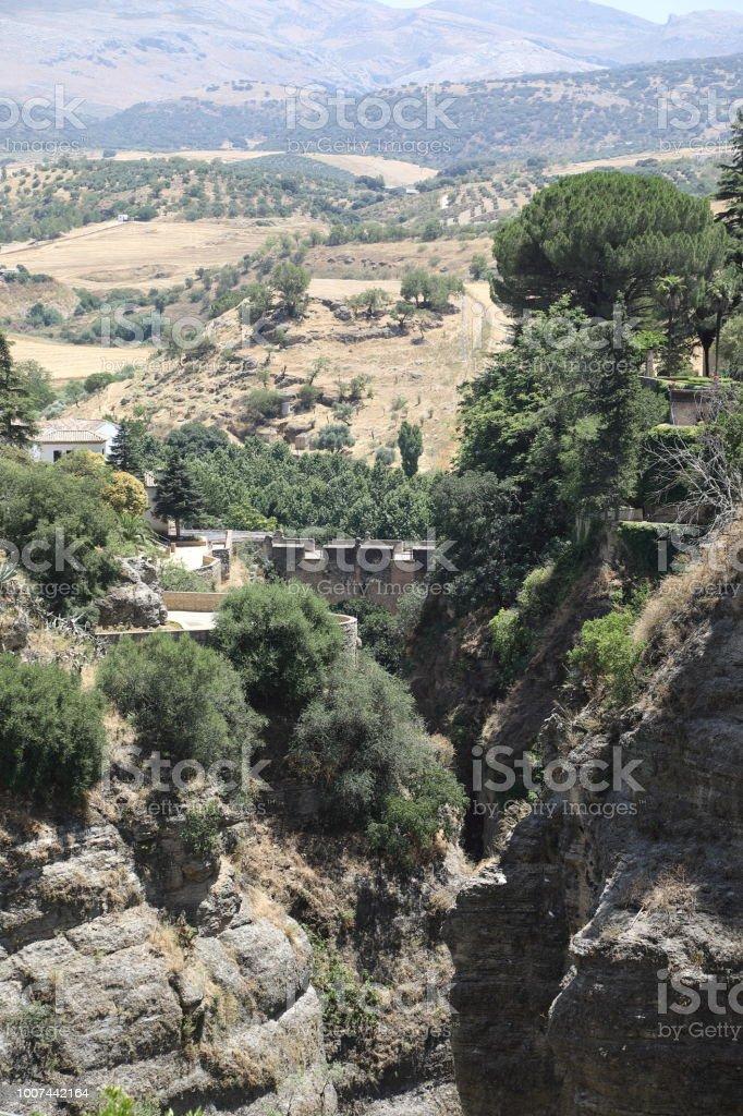 Old arab Moor Bridge in Ronda Andalusia, Spain stock photo