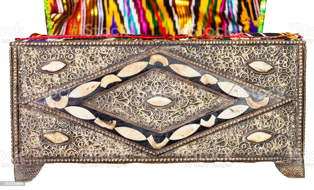 old arabic Casket with textile upholstery isolated stock photo