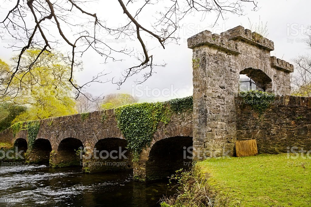 Old, arched stone bridge in a beautiful park stock photo
