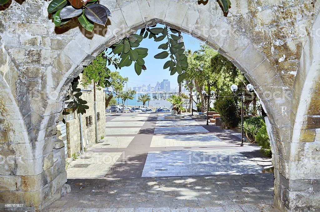 Old arches in Jaffa, Israel stock photo