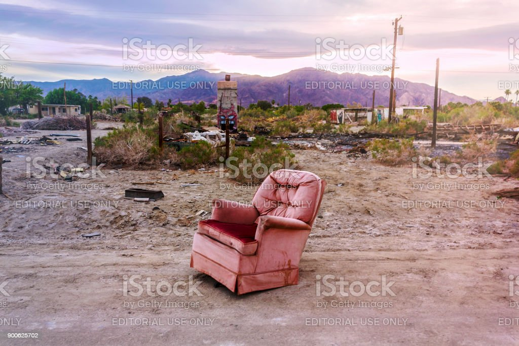 Old armchair in Salton City, California, United States. American ghost town. stock photo