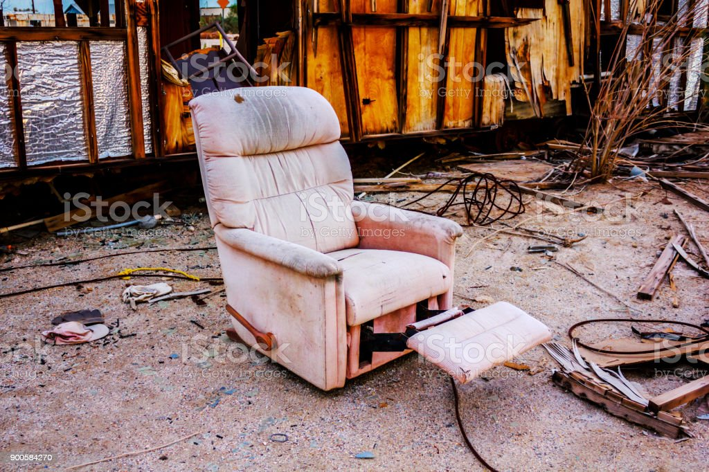 Old Armchair Outside In Salton City, California, United States.  Royalty Free Stock