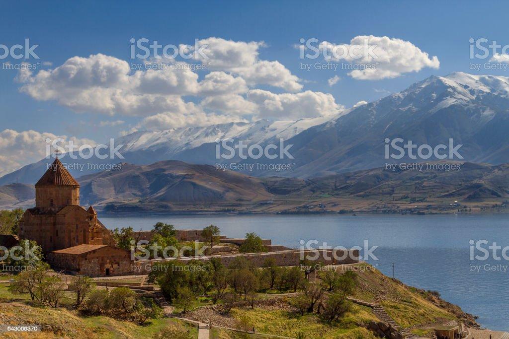 Old Armenian Cathedral of Akdamar on the Akdamar Island, Lake Van, Turkey stock photo