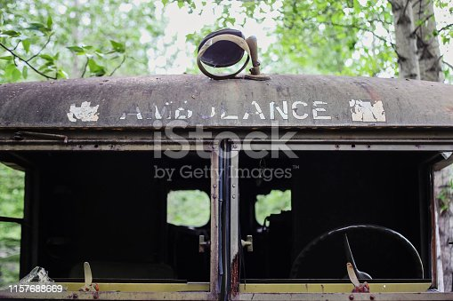 Detail of old and rustic ambulance