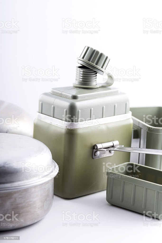 Old Army Containers and Aluminium Pots Used During Combat royalty-free stock photo