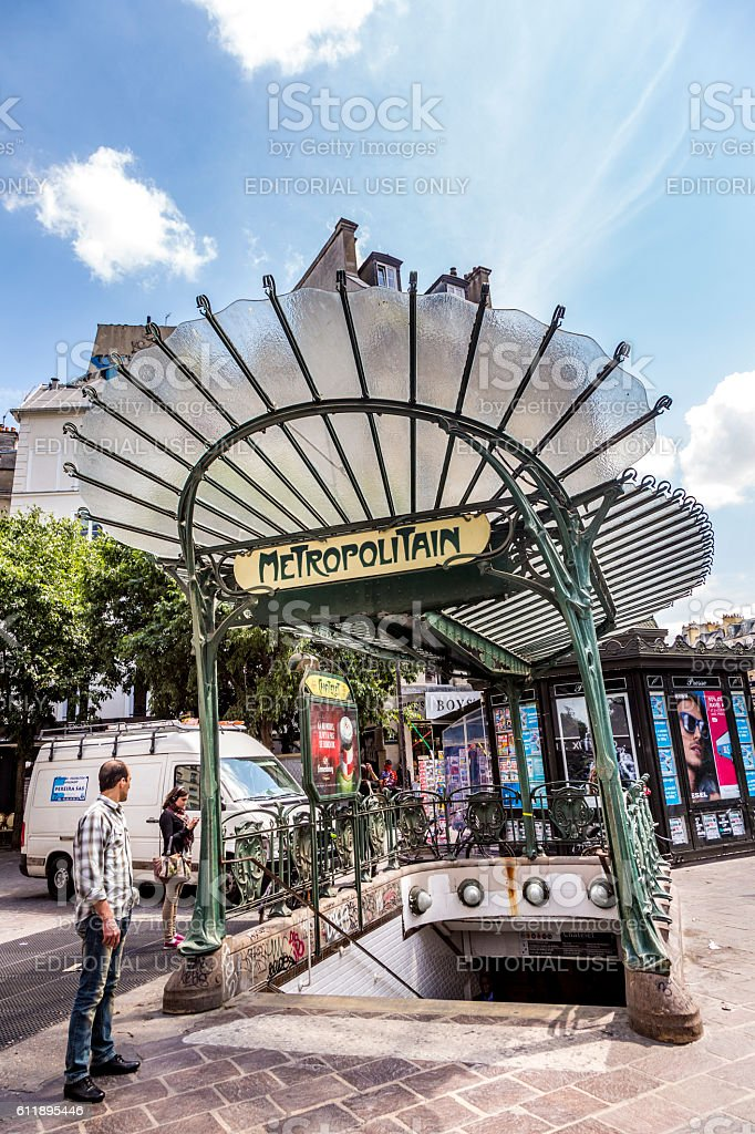 Old Art Nouveau Metro Station Chatelet At Les Halles Stock Photo ...