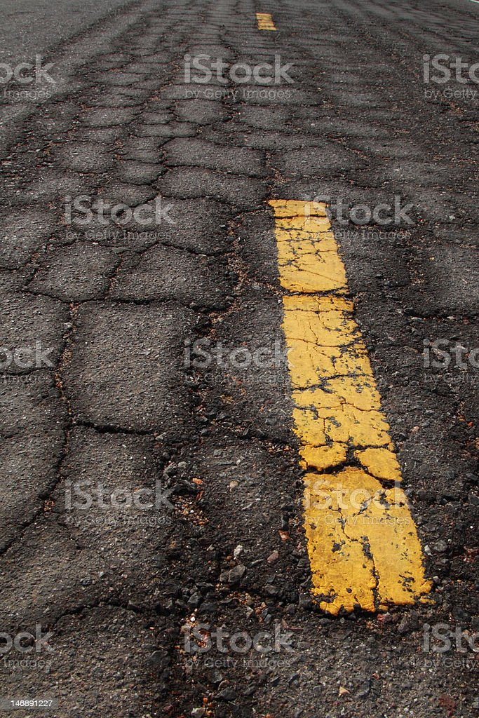 old Asphalt road cracked pattern royalty-free stock photo