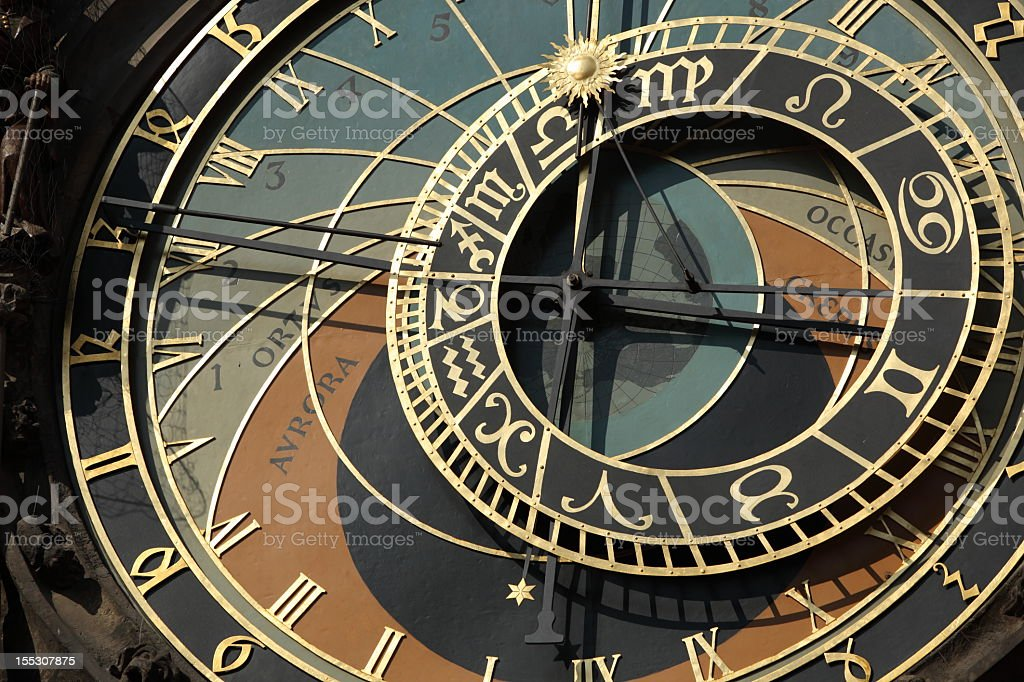 Old astronomical clock in Prague, Czech Republic royalty-free stock photo