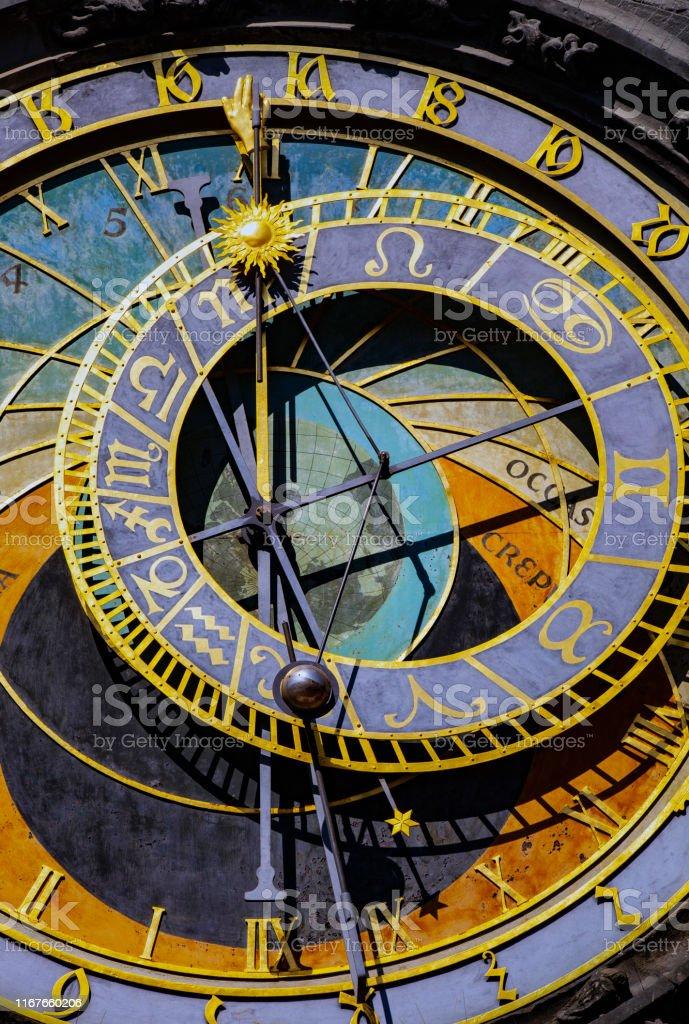 Alte Astronomische Uhr in Prag - Lizenzfrei Alt Stock-Foto