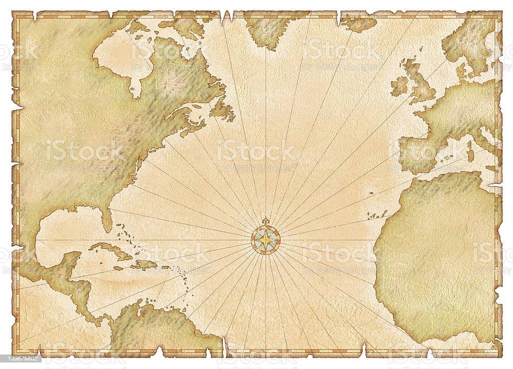 Old Atlantic Map stock photo