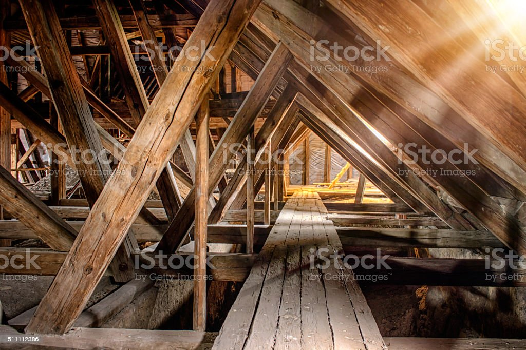 Old attic of a church stock photo