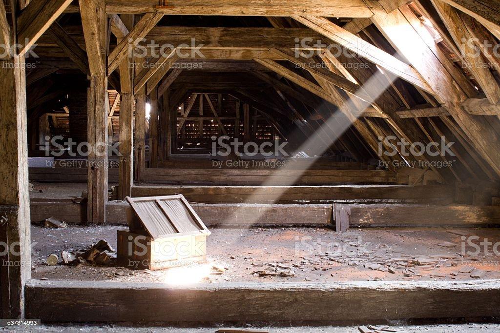 old attic of a house, hidden secrets stock photo