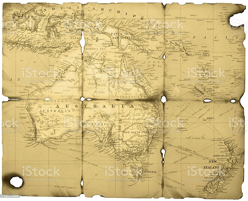 Old Australasian Map In Sepia stock photo