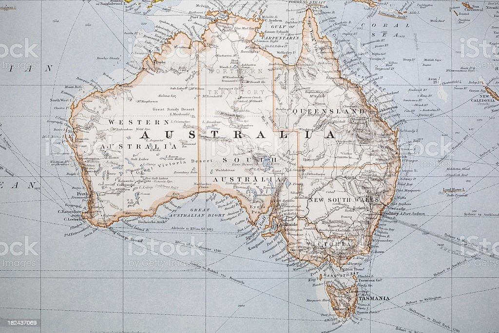 Old Australia Map royalty-free stock photo