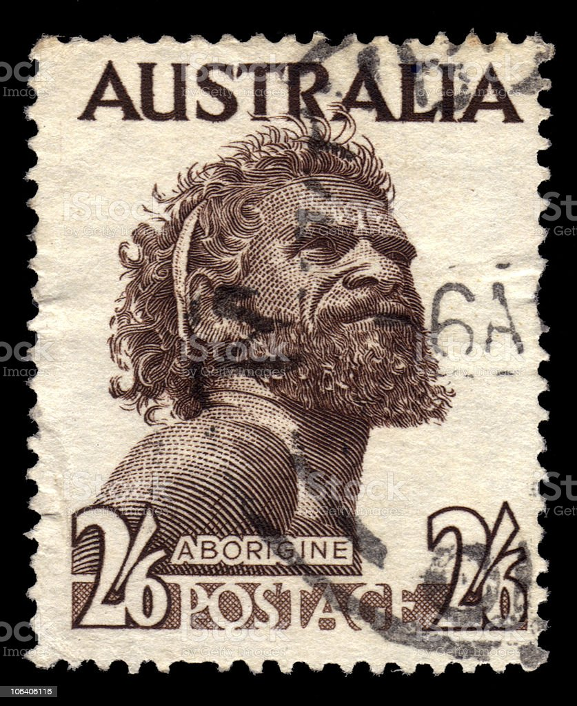 Old Australia Postage Stamp Showing An Aborigine stock photo