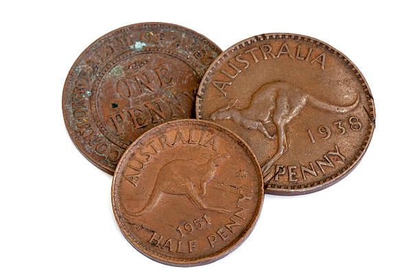 Old Australian Pennies Isolated on White stock photo