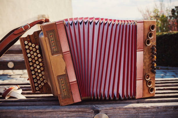 old austrian accordion - accordion stock photos and pictures