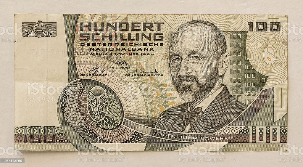 Old Austrian Banknote: 100 Schilling 1984 stock photo