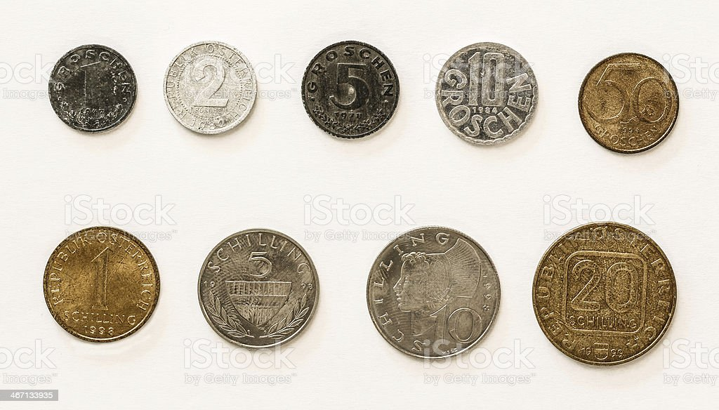 Old Austrian Coins: 1-2-5-10-50 Groschen / 1-5-10-20 Schilling stock photo